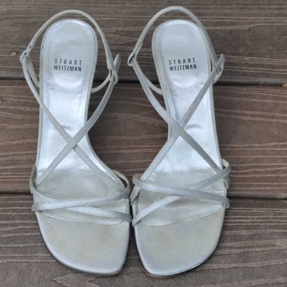 Stuart Weitzman Silver Strappy Heels